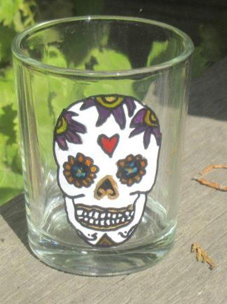 Sugar Skull Shot Glass or tea light - Heart with large purple flowers