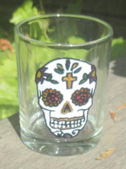 Sugar Skull Shot Glass or tea light - Cross with 5 petals