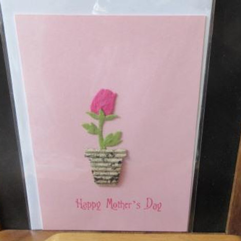 Mother's Day Card - pink paper tulip in corrugated pot