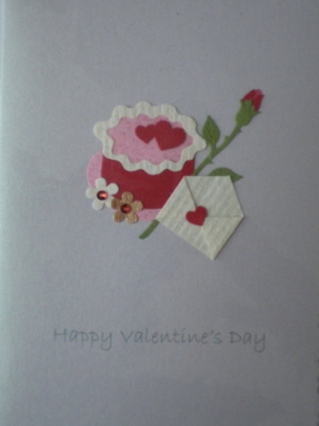Valentine's Day Card with cake, rose and envelope