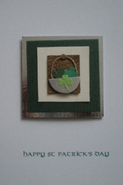 St Patrick's Day card - Shamrocks in basket on hessian square