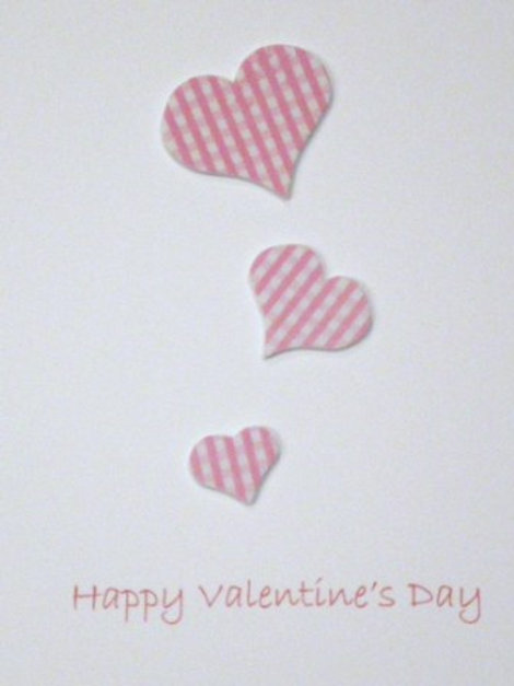 Valentine's Day Card with three gingham pink hearts