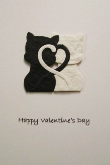 Valentine's Day Card - Black & White Cats