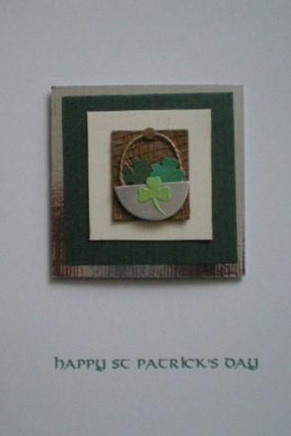 St Patrick's Day card - Bowl of Shamrocks on hessian, silver and green