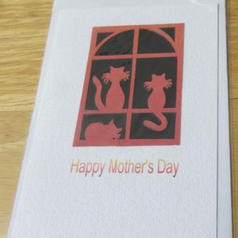 Mother's Day Card - Cats silhouette - sunrise greeting