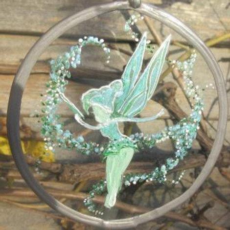 SOLD - Suncatcher - Green Fairy in cloud of pixie dust