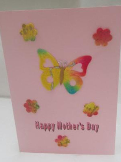 Mother's Day Card - Handmade paper Butterfly and daisies