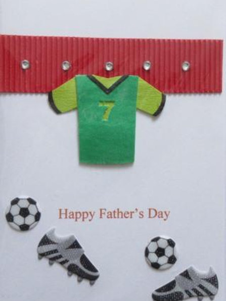 Father's Day Card - Football shirt , boots and balls