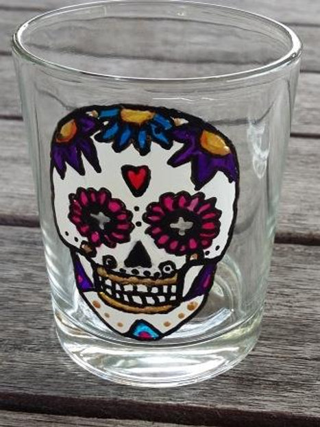 Sugar Skull Shot Glass or tea light - Pink eyes and red heart