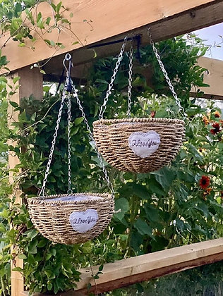 Hanging Handwoven Straw Planters (Set of 2)