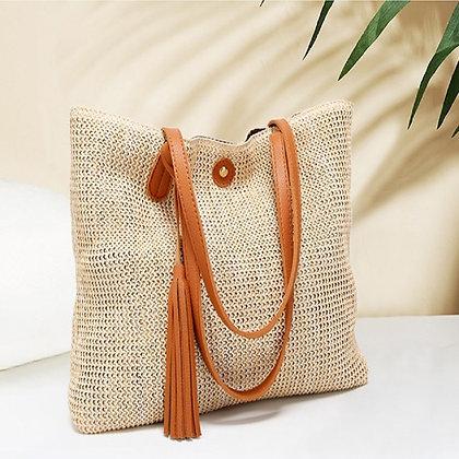 Handwoven straw shoulder bag