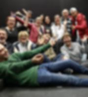 Atelier de création collective du Théâtre de la Renaissance de Seraing avec le groupe d'Alternatives formations, Comédien animater : David Boos - Comédinn animatrice : Valérie Kennis