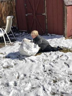 Preschool Students Making Snowman