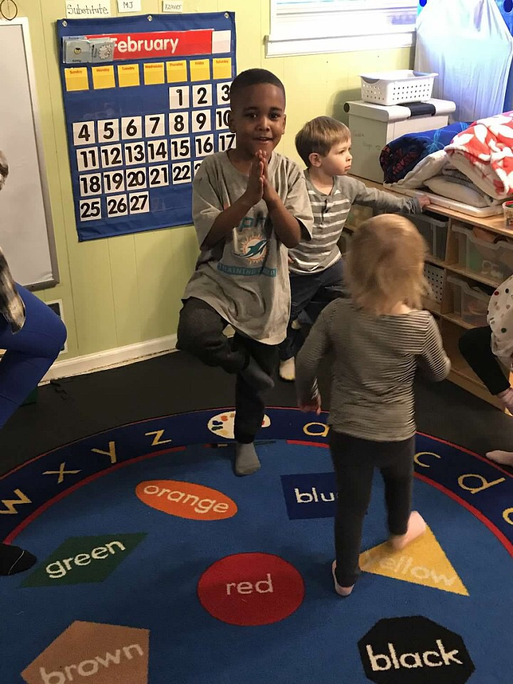 Preschool Students Yoga Practice