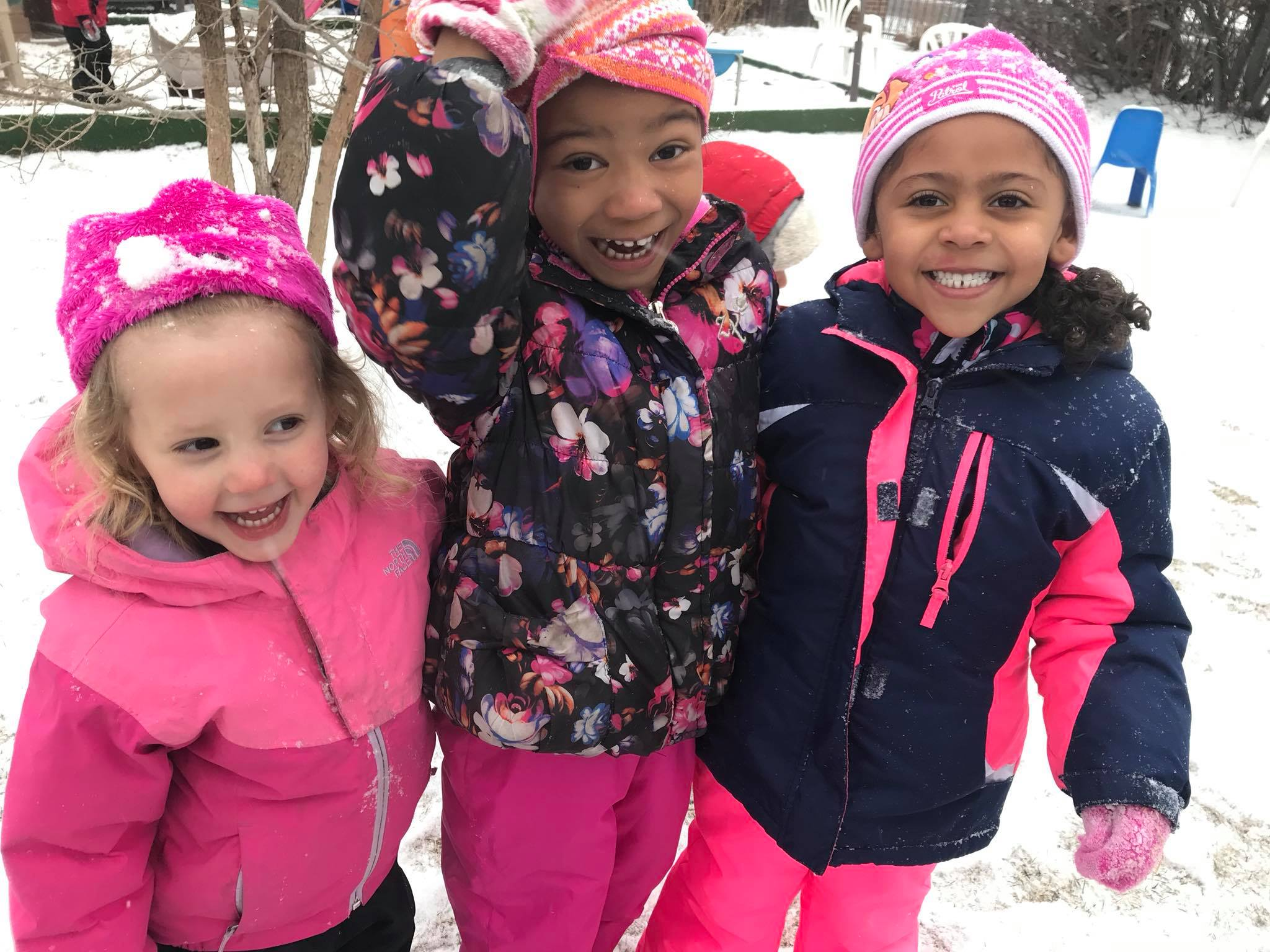 Preschool Students Fun In The Snow