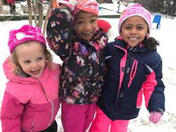 Preschool Students Fun In The Snow