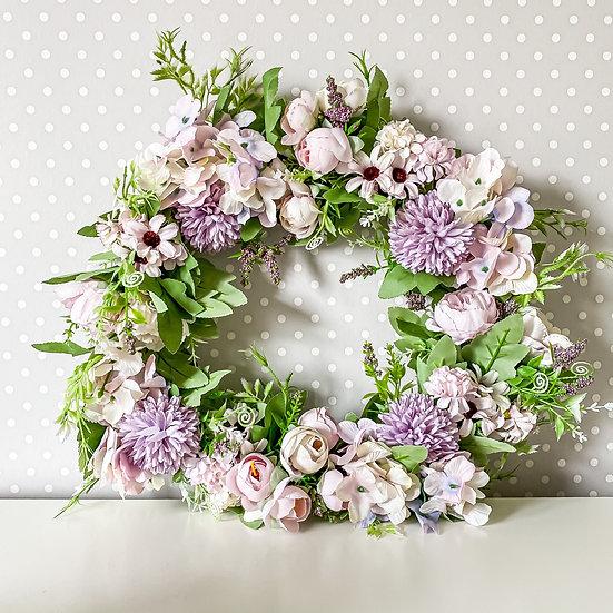 Purple Mixed Flower Wreath