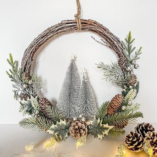 Festive Wreath with Christmas Trees
