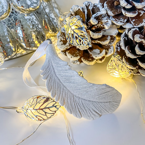 White Resin Glittery Feather