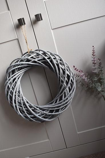 Grey Wicker Wreath - 40cm