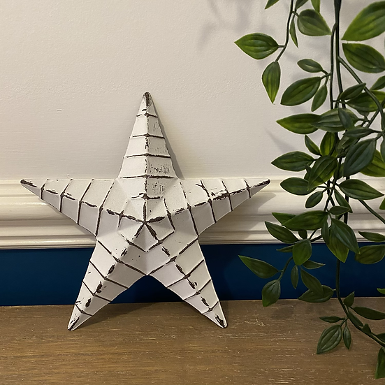 20cm White Metal Barn Star