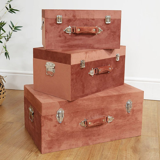 Set of 3 Pink Velvet Suitcase Chests