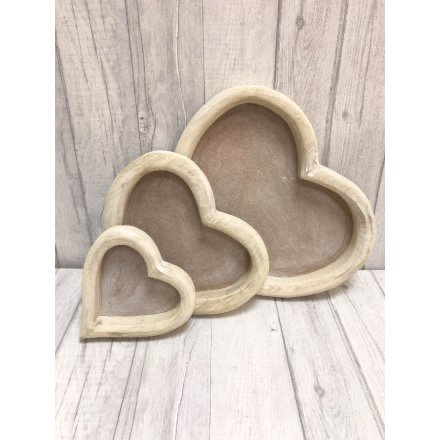 Wooden Heart Trays - Set of 3