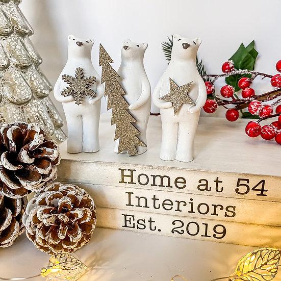 Set of 3 Festive Polar Bears