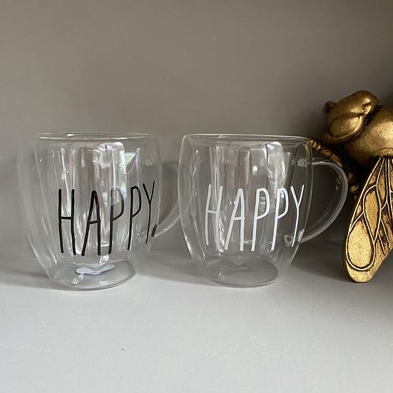 Glass Happy Mug