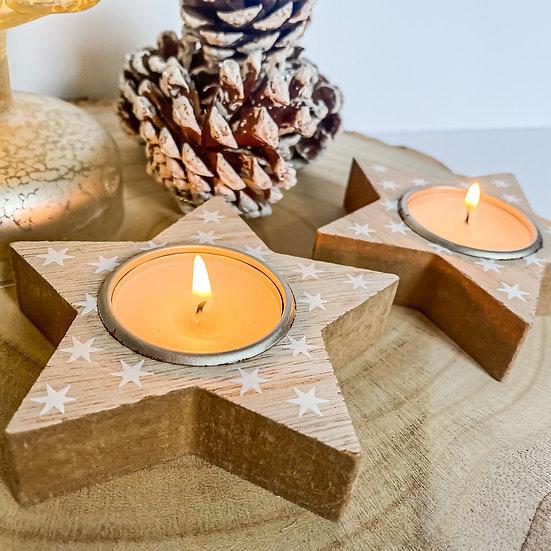 Wooden Star Tealight Holder - Set of 2