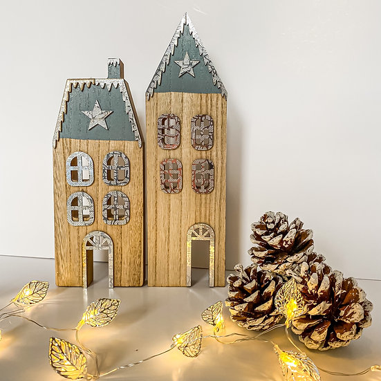 Standing Wooden Christmas Houses - Set of 2