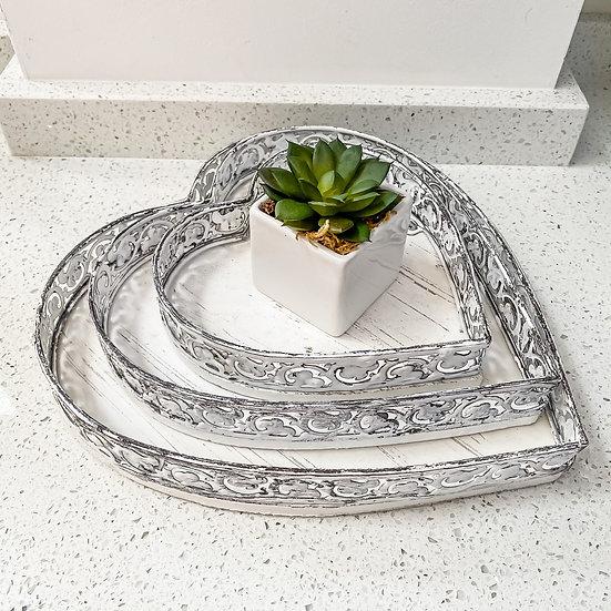 Set of 3 White Rustic Metal Trays