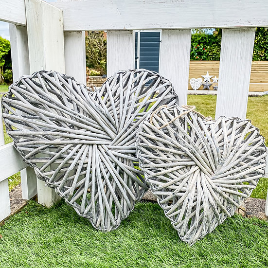 Grey Wash Rattan Twisted Hearts - Two Sizes