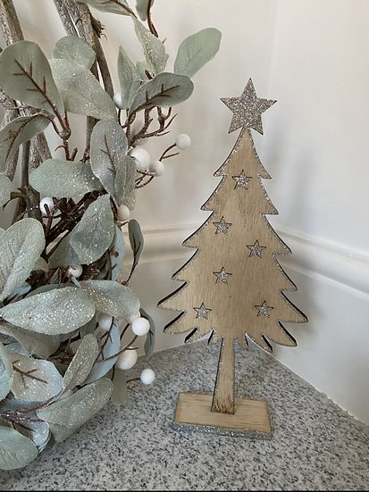 Glitter Star Wooden Tree