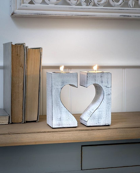 Heart Tea Light Holders - Set of 2 (slightly imperfect)