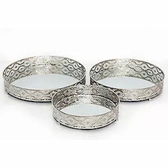 Set of 3 Mirrored Candle Trays