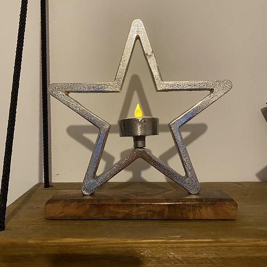 Aluminium Star Tealight Holder