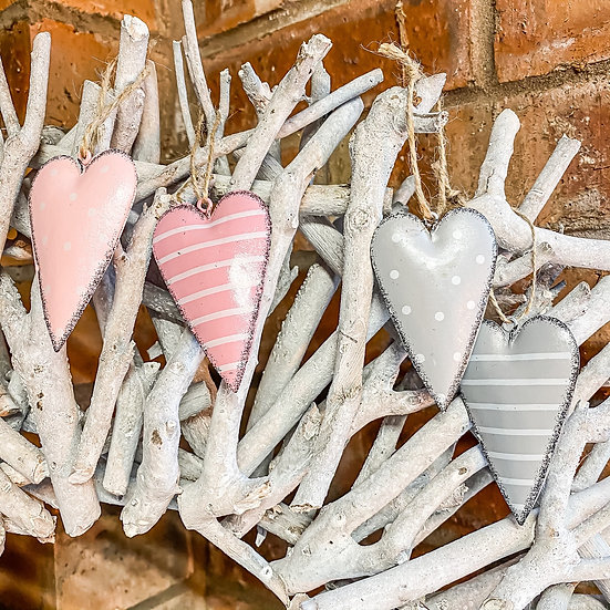 Hanging Patterned Metal Hearts