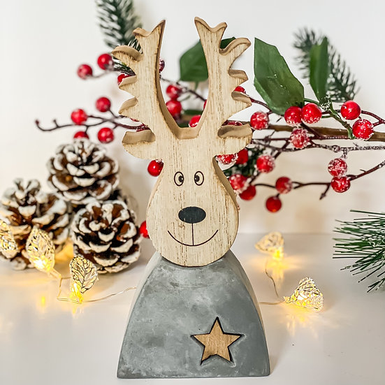 Wood and Cement Reindeer
