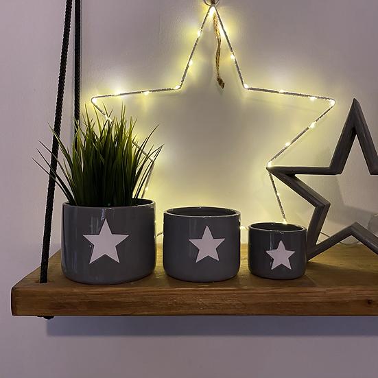 Grey Star Pots - Set of 3