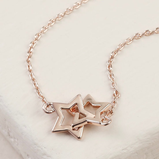 Rose Gold Interlocking Stars Necklace