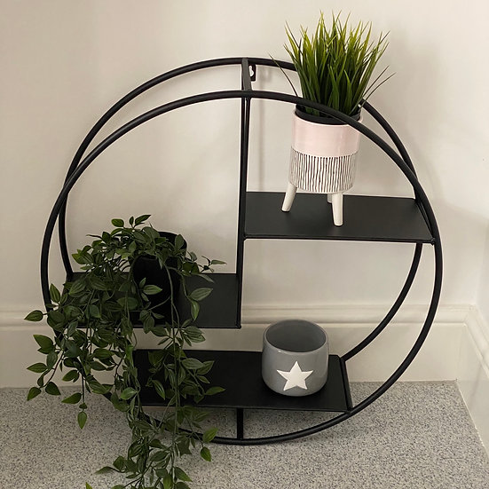 Matte Black Round Shelf