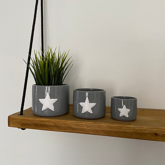 Perfectly Imperfect Grey Star Pots - Set of 3