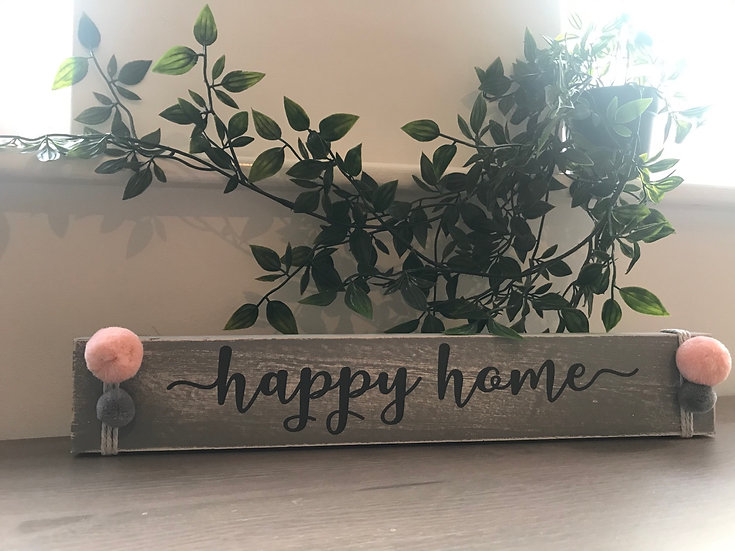 Happy Home - Wooden Block with Pom Poms