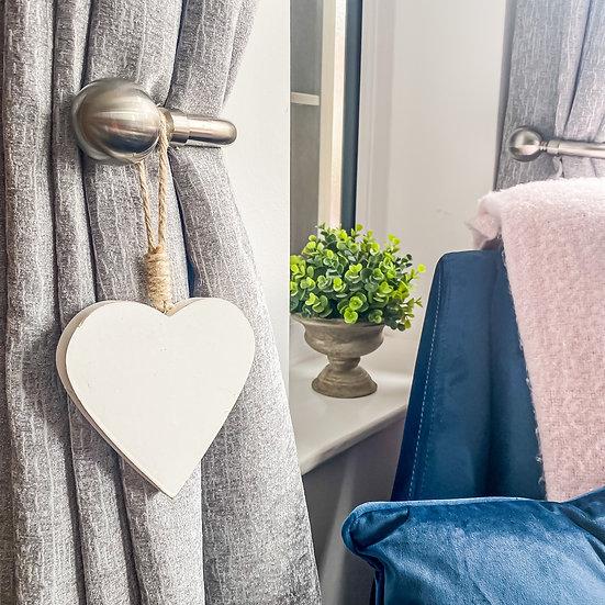 Wooden White Heart Hanger