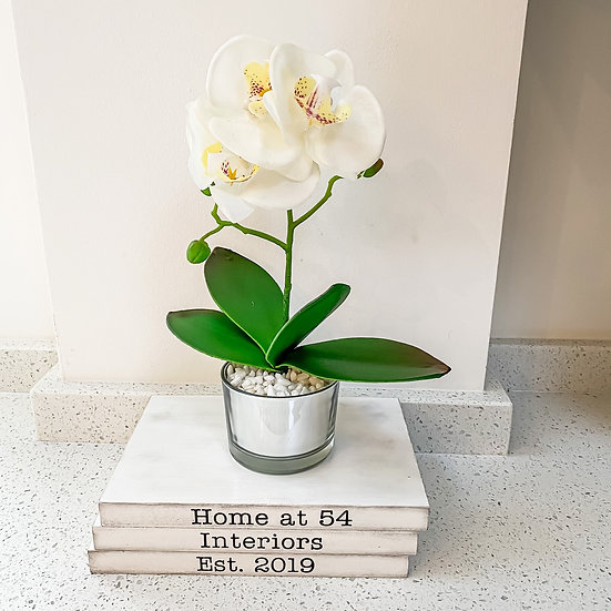 White Orchid with Glass Pot