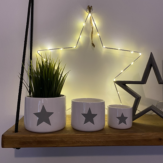 Perfectly Imperfect White Star Pots - Set of 3