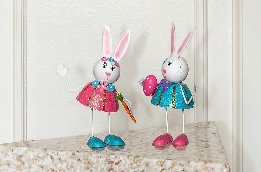 Hand Painted Metal Bunnies