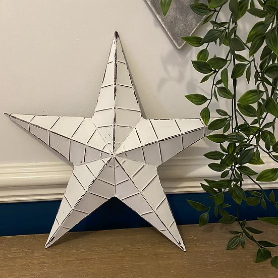32cm White Metal Barn Star