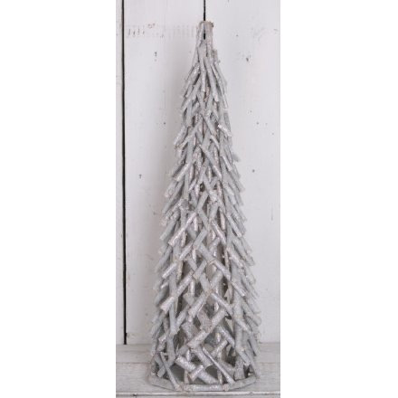 Grey and Silver Wooden Glitter Tree